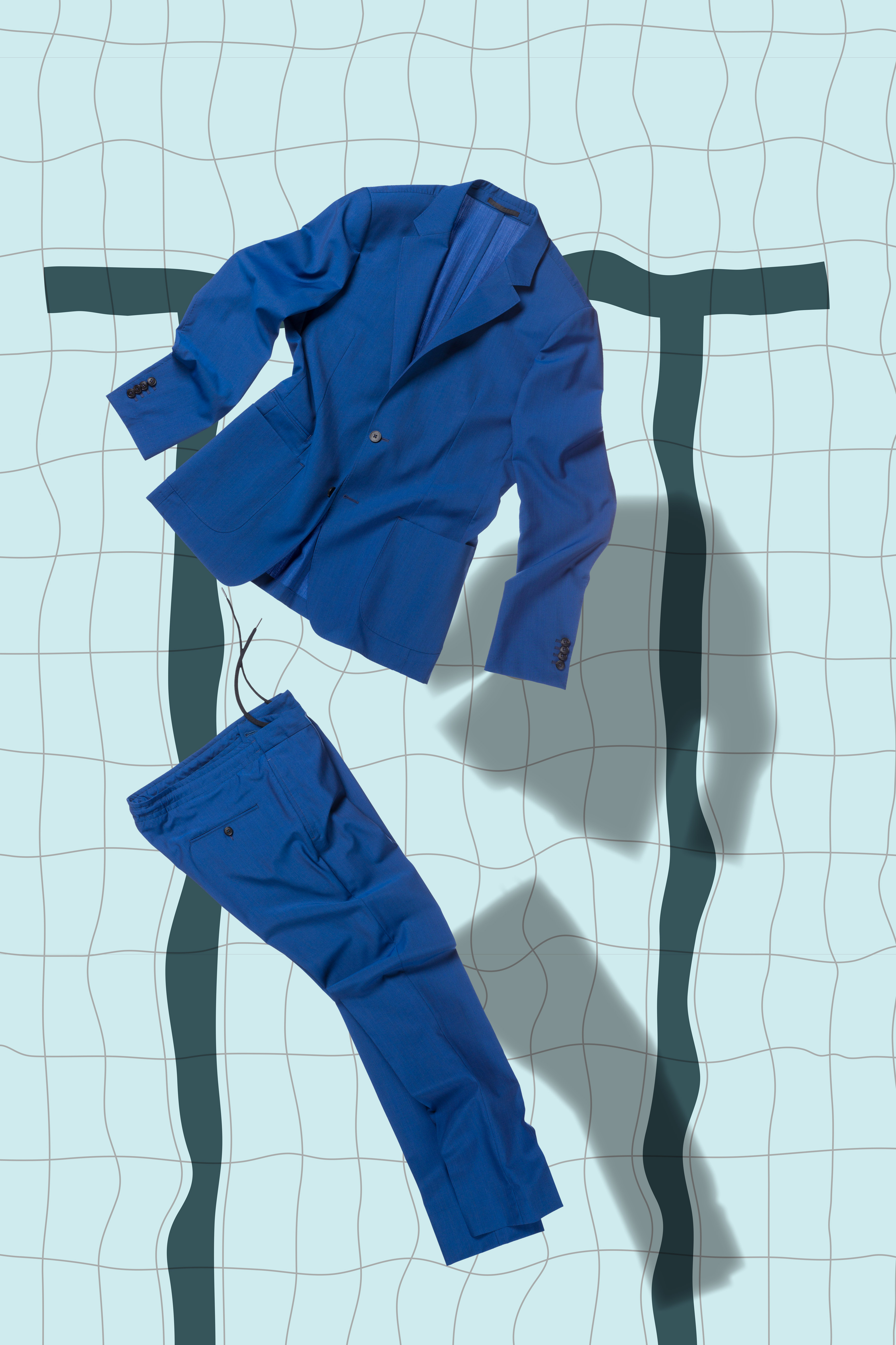 Ermenegildo Zegna blue suit and pants floating in a swimming pool