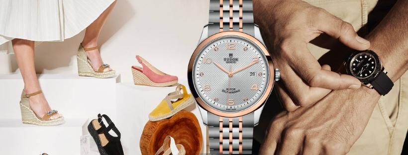 Woman wearing Peter Sheppard shoes and man wearing TUDOR watch