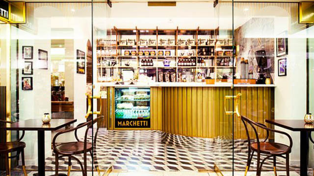 Interior of Marchetti cafe